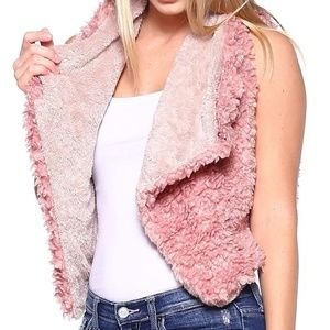 Jackets & Blazers - Fabulous Furry Vest in Mauvey Pink and Beige